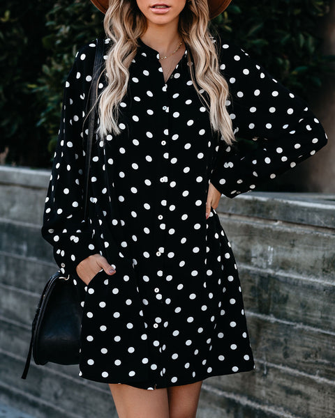 Melina Pocketed Button Down Polka Dot Dress - FINAL SALE