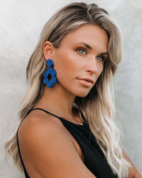 Mendes Beaded Statement Earrings - Cobalt