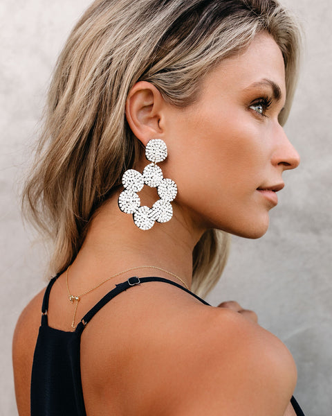 Mendes Beaded Statement Earrings - Pearl White