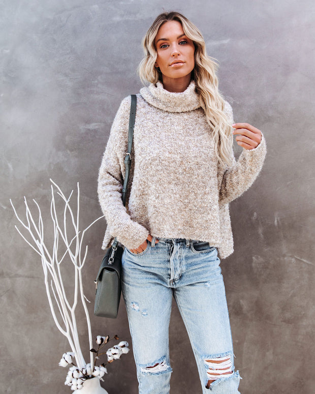 Menlo Cowl Neck Knit Sweater - Oatmeal