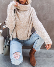 Menlo Cowl Neck Knit Sweater - Oatmeal - FINAL SALE view 5