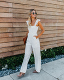 Merriment Smocked Pocketed Jumpsuit - Ivory
