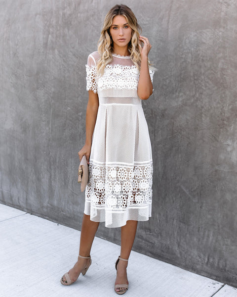 Mesh Well Together Lace Applique Midi Dress