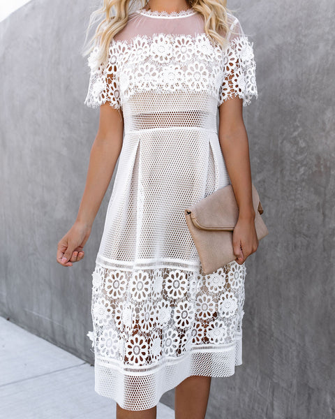 Mesh Well Together Lace Applique Midi Dress - FINAL SALE