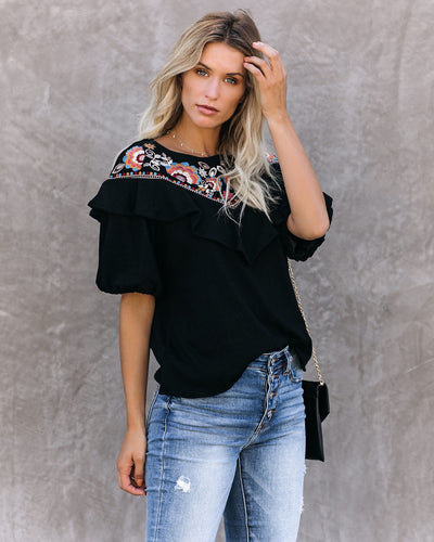 Mesmerize Cotton Blend Embroidered Flutter Top - FINAL SALE