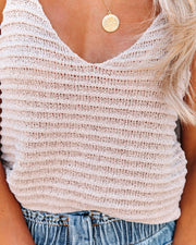 Mesmerized Ribbed Knit Tie Tank - Champagne view 4