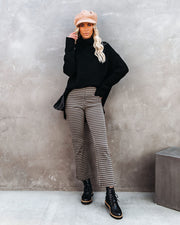 Metro Houndstooth Knit Flare Pants