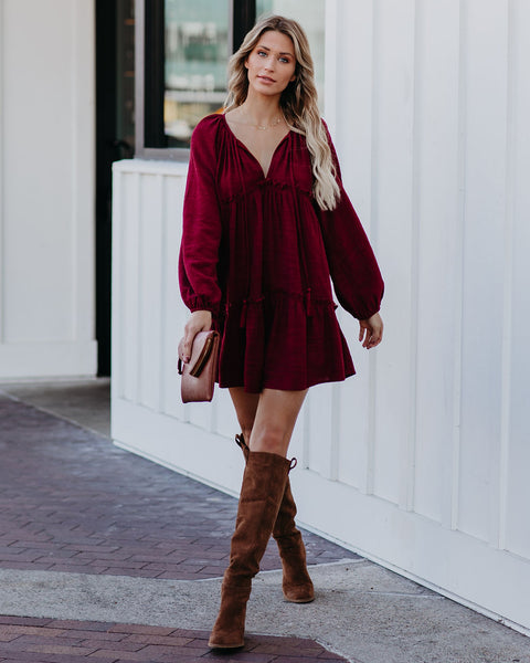 Mi Amiga Cotton Blend Tiered Tunic - Burgundy  - FINAL SALE
