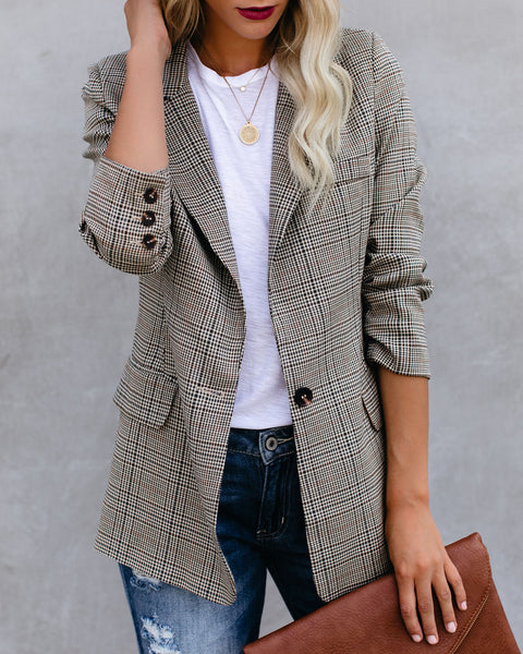 Midtown Pocketed Houndstooth Blazer