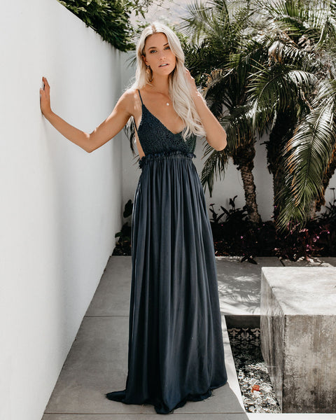 Milana Boho Maxi Dress - Midnight Navy