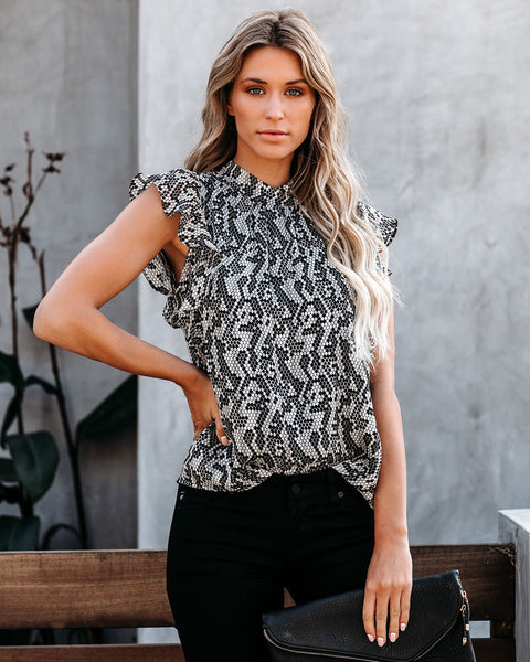 Mile A Minute Sleeveless Shimmer Ruffle Blouse - FINAL SALE