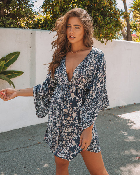 Miles Away Kimono Dress - Navy/Blush