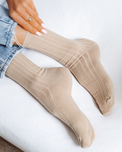 Mill Cotton Blend Crew Sock 4-Pack - Beige