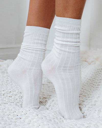 Mill Cotton Blend Crew Sock 4-Pack - White