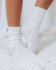Mill Cotton Blend Crew Sock 4-Pack - White view 2