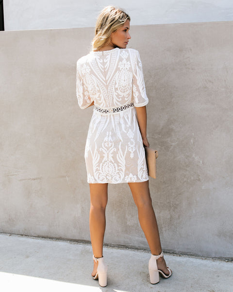 Million Times Yes Embroidered Sequin Dress