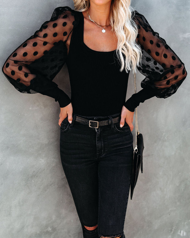 Mina Contrast Polka Dot Sleeve Knit Top - Black