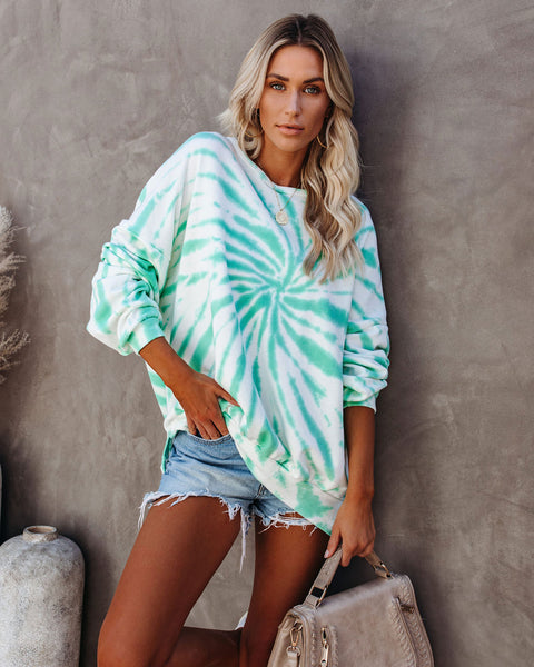 Mindset Relaxed Tie Dye Pullover - Mint