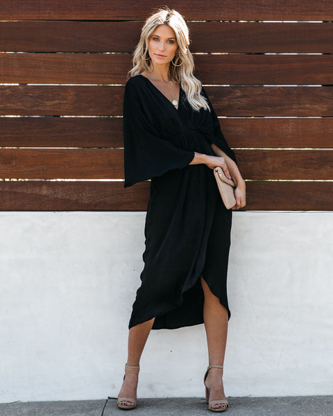 Miracles Satin Kimono Midi Dress - Black