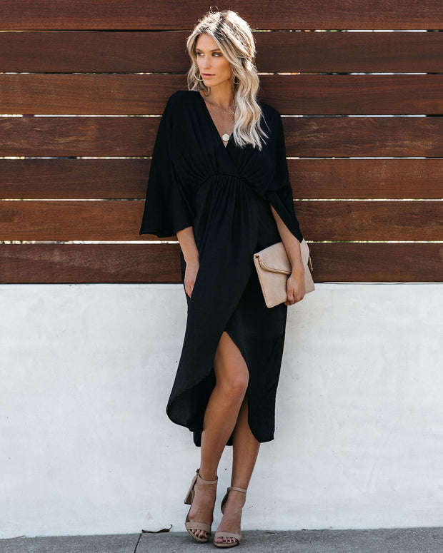 Miracles Satin Kimono Midi Dress - Black - FINAL SALE