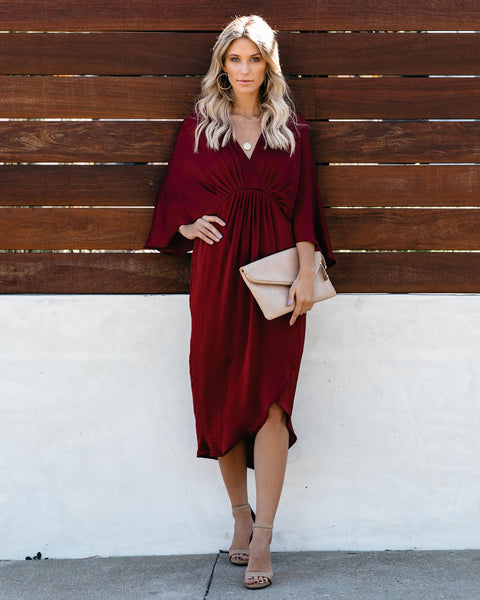 Miracles Satin Kimono Midi Dress - Burgundy