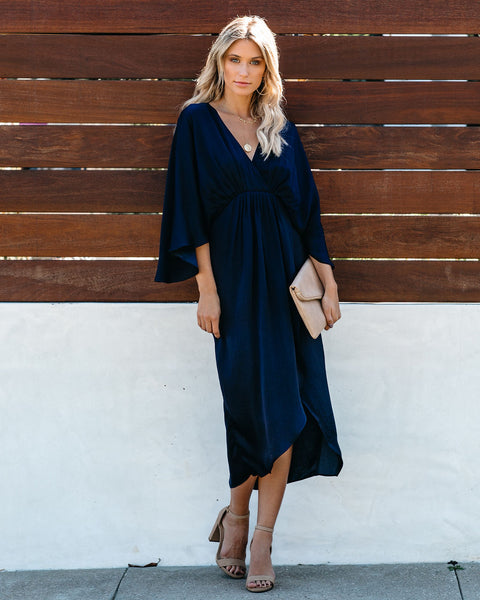 Miracles Satin Kimono Midi Dress - Navy