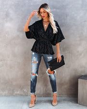 Mirage Sequin Peplum Top - Black