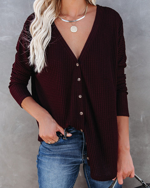 Miriam Button Down Knit Top - Merlot