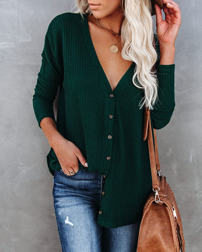 Miriam Button Down Knit Top - Pine