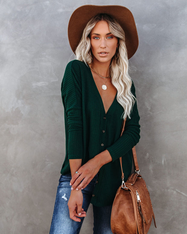PREORDER - Miriam Button Down Knit Top - Pine