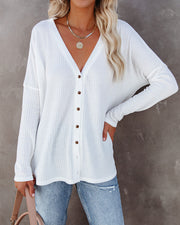 Miriam Button Down Knit Top - White