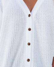 Miriam Button Down Knit Top - White view 4