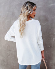 Miriam Button Down Knit Top - White view 2