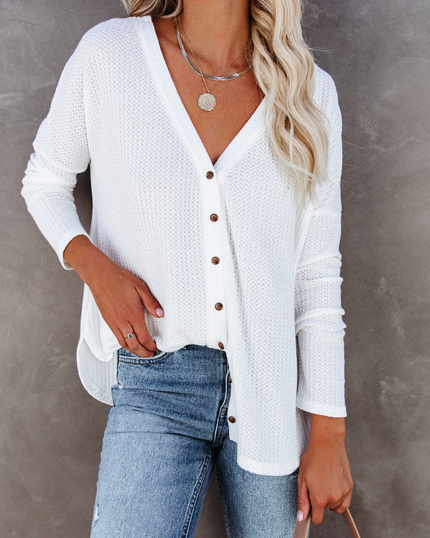 Miriam Button Down Knit Top - White view 3