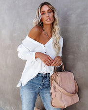 Miriam Button Down Knit Top - White view 7