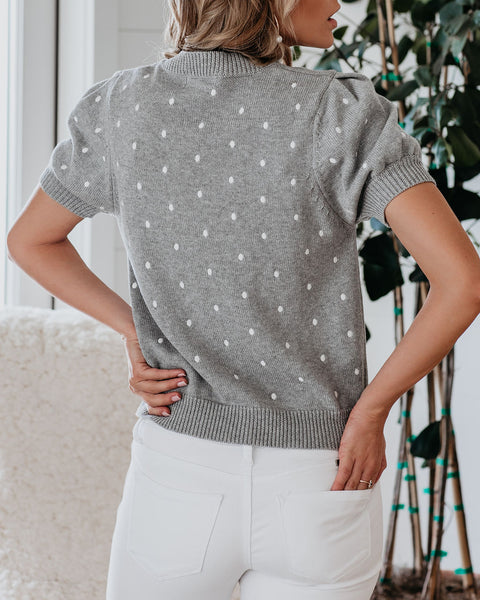 Missy Cotton Embroidered Polka Dot Knit Top - Heather Grey