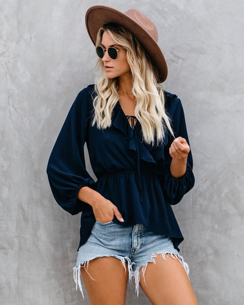 Mists Of Time High Low Ruffle Blouse - Navy - FINAL SALE