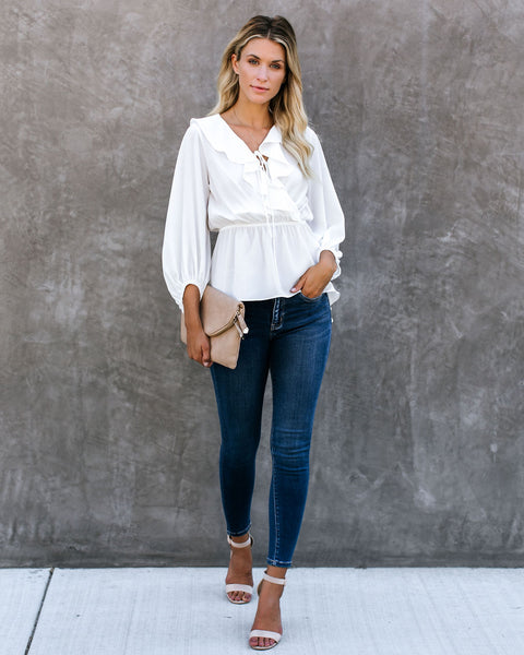 Mists Of Time High Low Ruffle Blouse - White - FINAL SALE