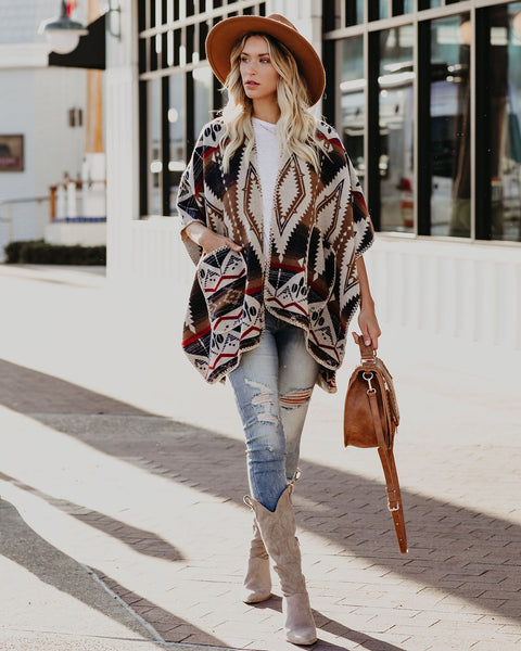Misty Mornings Pocketed Aztec Poncho