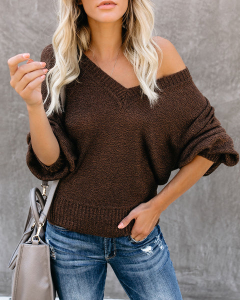 Mocha Moment Balloon Sleeve V-Neck Sweater - FINAL SALE