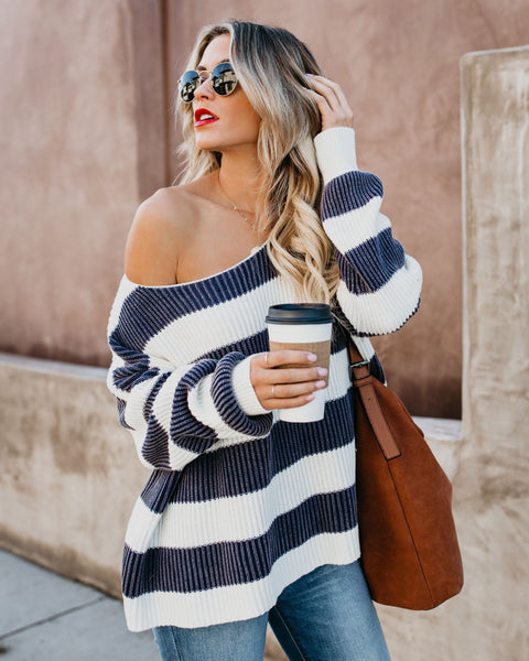 Modern Prep Cotton Striped Sweater - Navy - FINAL SALE