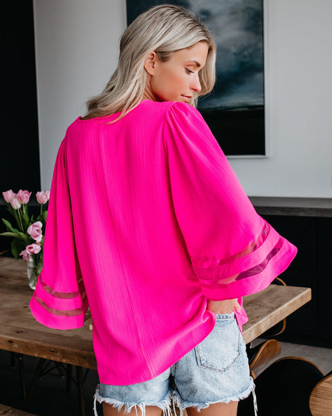 Moments Notice Bell Sleeve Top - Hot Pink