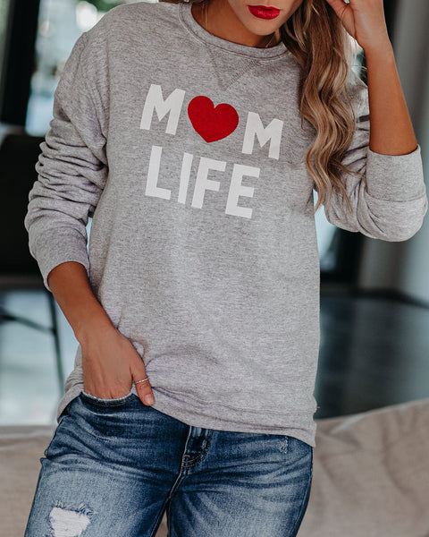 Mom Life Cotton Blend Sweatshirt
