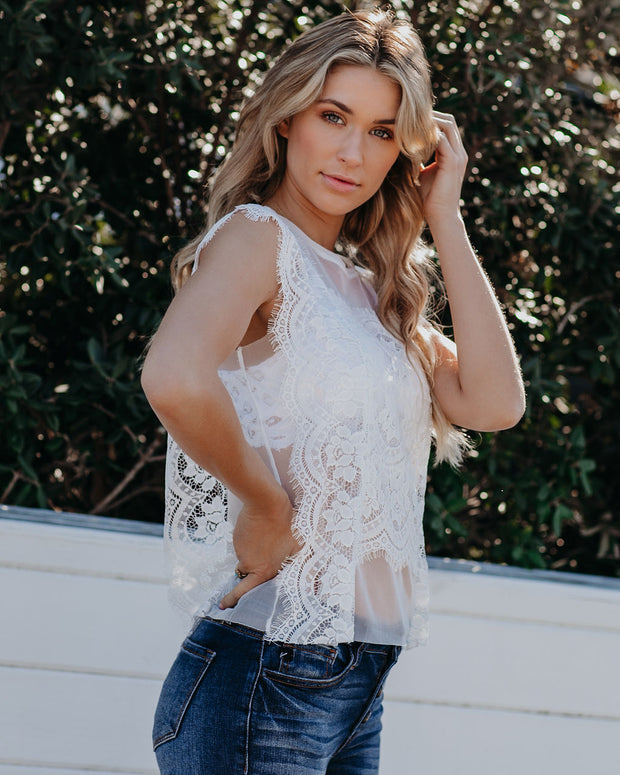 Monarch Lace Tank - White - FINAL SALE