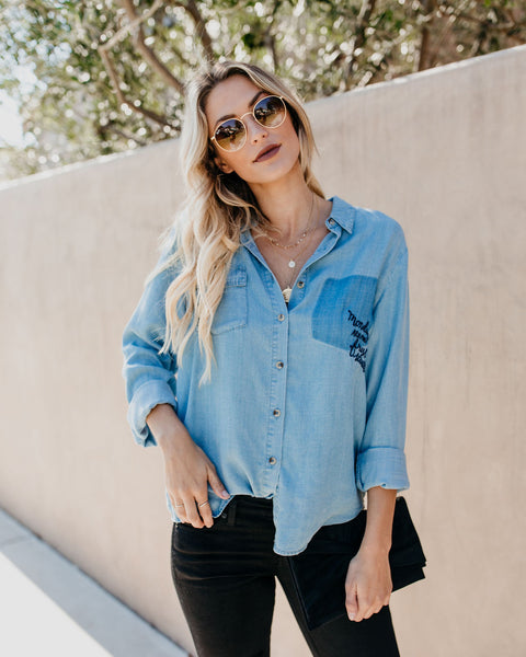 Mondays Tencel Button Down Top