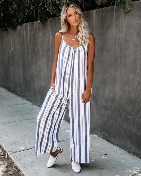 Monkey Bars Cotton Pocketed Striped Jumpsuit - FINAL SALE