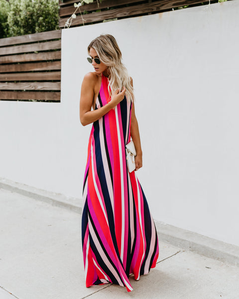 Monte Carlo Striped Halter Maxi Dress