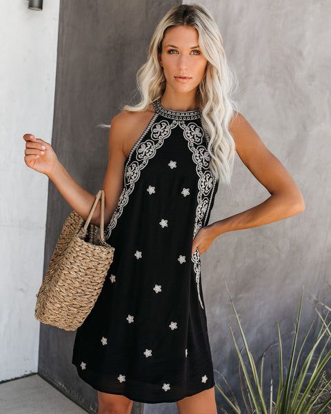 Monte Vista Embroidered Dress - Black - FINAL SALE