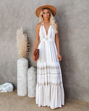 Montpellier Tiered Halter Maxi Dress - Beige