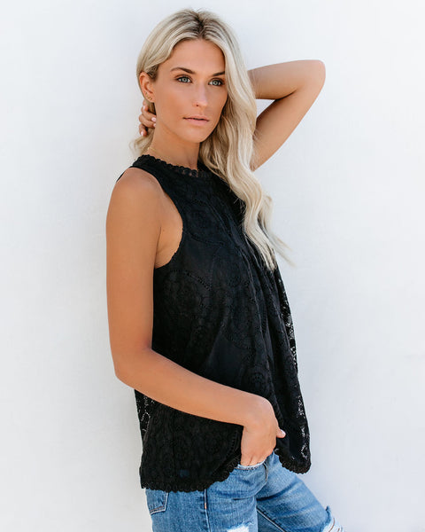 Moon Dance Lace Tank - Black